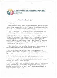 Klauzula informacyjna RODO 2018